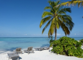 Fun island resort - pláž s lehátky