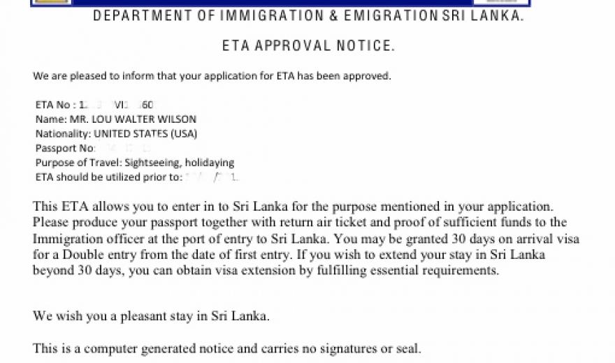 ETA víza Srí Lanka